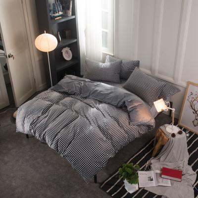 水晶绒四件套 小号(1.35m床及以下) 小格黑