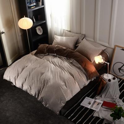 水晶绒四件套 小号(1.35m床及以下) 小格咖