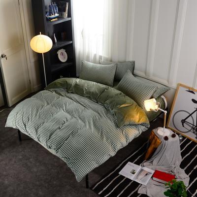 水晶绒四件套 小号(1.35m床及以下) 小格绿