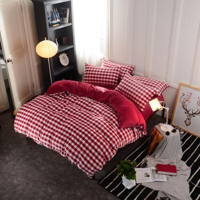 水晶绒四件套 小号(1.35m床及以下) 中格红