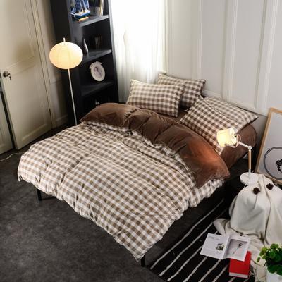 水晶绒四件套 小号(1.35m床及以下) 中格咖
