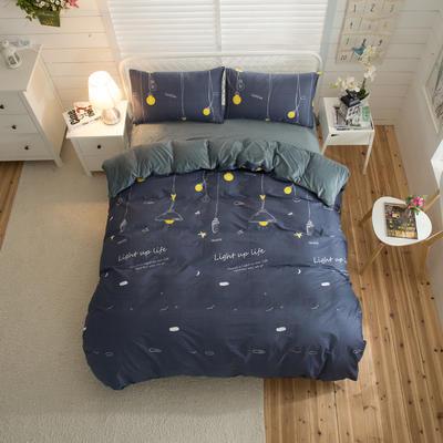棉加绒四件套 1.2m(4英尺)床 晚安星点
