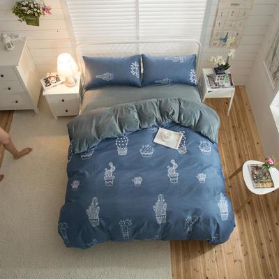 棉加绒四件套 1.2m(4英尺)床 仙恋凝花-蓝