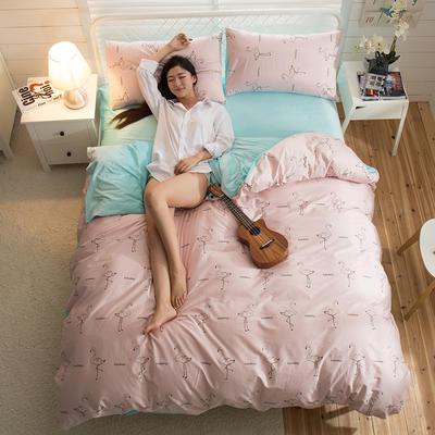 A版全棉活性印花 B版加厚水晶绒保暖四件套 1.2m(4英尺)床) 火烈鸟