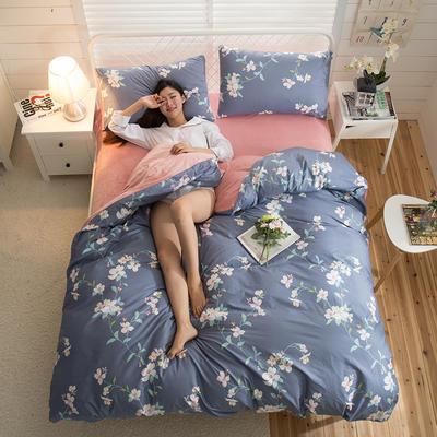A版全棉活性印花 B版加厚水晶绒保暖四件套 1.2m(4英尺)床) 兰亭序