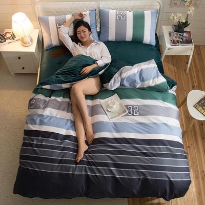 A版全棉活性印花 B版加厚水晶绒保暖四件套 1.2m(4英尺)床) 尼马罗