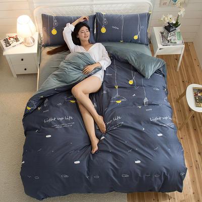 A版全棉活性印花 B版加厚水晶绒保暖四件套 1.2m(4英尺)床) 晚安星点