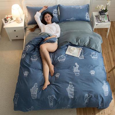 A版全棉活性印花 B版加厚水晶绒保暖四件套 1.2m(4英尺)床) 仙恋凝花-蓝