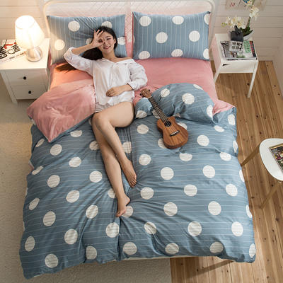 A版全棉活性印花 B版加厚水晶绒保暖四件套 1.2m(4英尺)床) 页语-兰