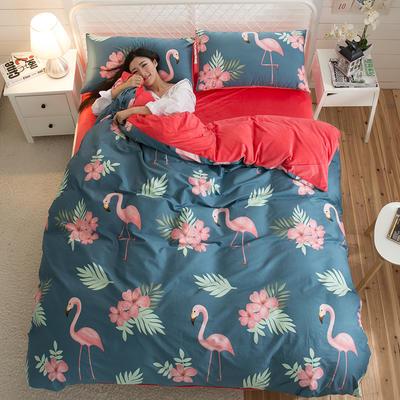 A版全棉活性印花 B版加厚水晶绒保暖四件套 1.2m(4英尺)床) 追爱-青
