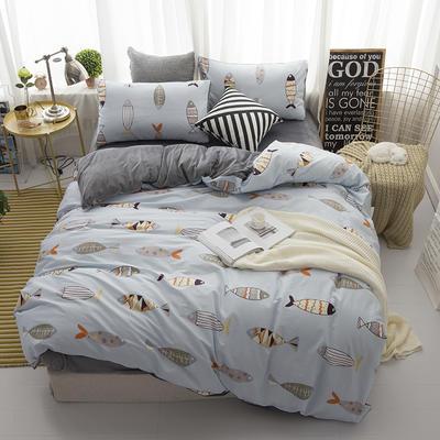 棉加绒四件套 1.2m(4英尺)床 好多鱼