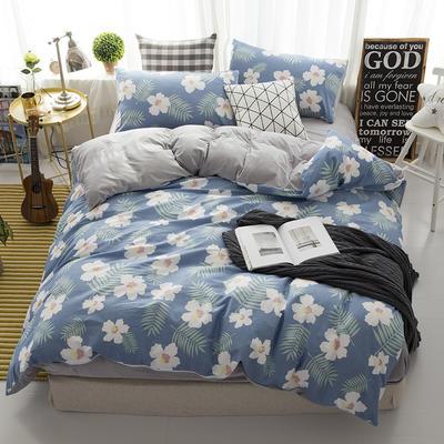 棉加绒四件套 1.2m(4英尺)床 花时