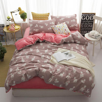 棉加绒四件套 1.2m(4英尺)床 绵绵细雨