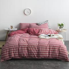 2018无印色织水洗四件套 1.2m(4英尺)床 条纹红