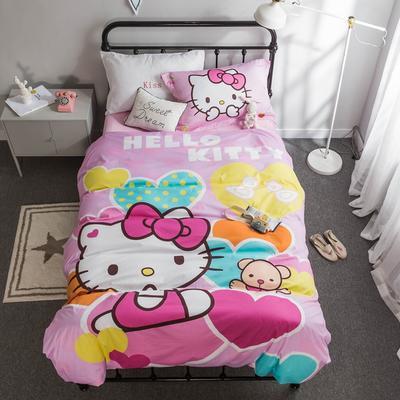 2018新款大版卡通活性保暖三件套 1.2m(4英尺)床 甜心猫