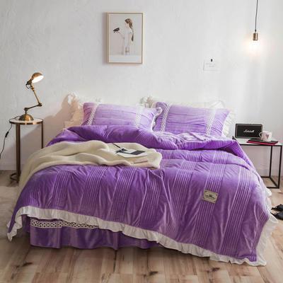 2018新款-韩风爆款安妮水晶绒宝宝绒毛绒四件套 1.5m(5英尺)床 安妮-紫