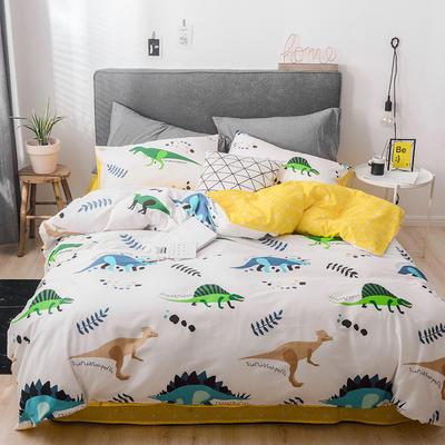 2019新款-13372全棉四件套 三件套1.2m(4英尺)床 淘气恐龙