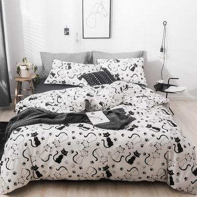 2019新款-13372全棉四件套 三件套1.2m(4英尺)床 调皮猫猫
