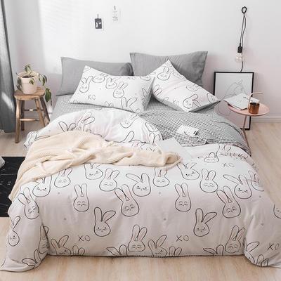 2019新款-13372全棉四件套 三件套1.2m(4英尺)床 兔斯基