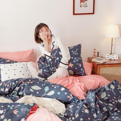 2019秋冬-棉加绒四件套 床单款三件套1.2m(4英尺)床 春色
