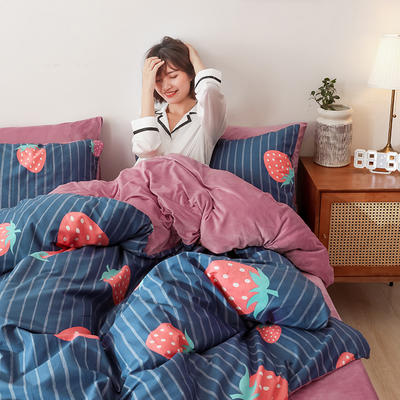 2019秋冬-棉加绒四件套 床单款三件套1.2m(4英尺)床 大草莓