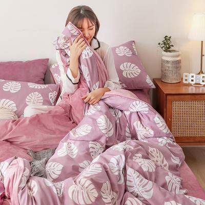 2019秋冬-棉加绒四件套 床单款三件套1.2m(4英尺)床 红樱桃