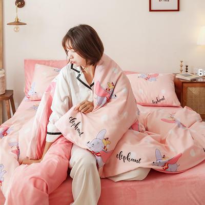 2019秋冬-棉加绒四件套 床单款三件套1.2m(4英尺)床 萌萌象