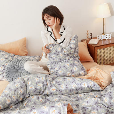 2019秋冬-棉加绒四件套 床单款三件套1.2m(4英尺)床 钟情