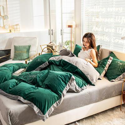 2019秋冬新款-宝宝绒韩版绣花四件套 床单款三件套1.2m(4英尺)床 绿野仙踪—墨绿