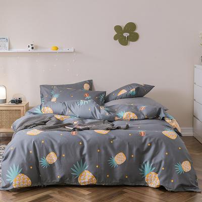 2019新款-全棉四件套 床单款四件套1.5m(5英尺)床 橙色菠萝