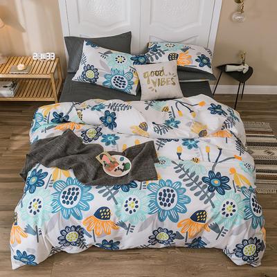 2019新款-全棉四件套 床单款四件套1.5m(5英尺)床 花海