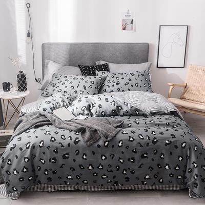 2019新款-全棉四件套 床单款四件套1.5m(5英尺)床 活力灰豹