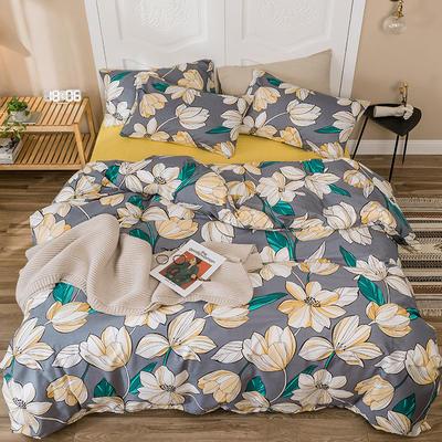 2019新款-全棉四件套 床单款四件套1.5m(5英尺)床 木槿