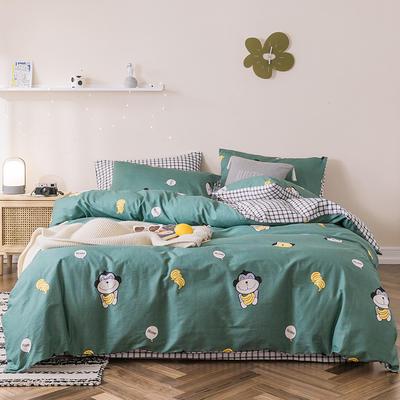 2019新款-全棉四件套 床单款四件套1.5m(5英尺)床 香蕉猴