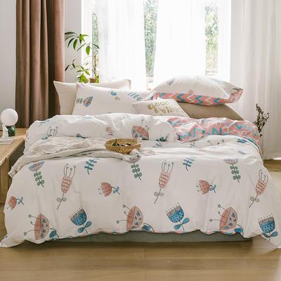 2019新款-13070全棉四件套 床单款三件套1.2m(4英尺)床 花舞芳菲