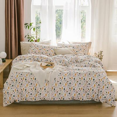 2019新款-13070全棉四件套 床单款三件套1.2m(4英尺)床 熊熊花语