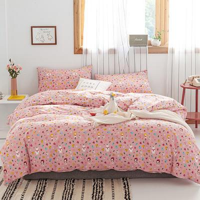 2019新款-13070全棉四件套 床单款三件套1.2m(4英尺)床 小红帽