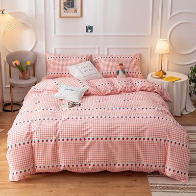 2020新款-13070全棉四件套 1.2m床单款三件套 格子草莓