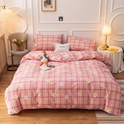 2020新款-13070全棉四件套 1.2m床单款三件套 格子雏菊