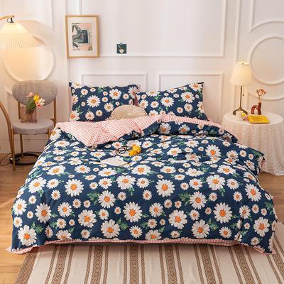 2020新款-13070全棉四件套 1.2m床单款三件套 蓝雏菊