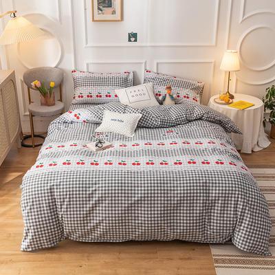 2020新款-13070全棉四件套 1.2m床单款三件套 日式樱桃