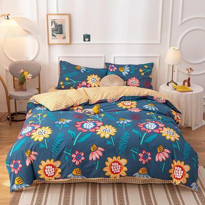 2020新款-13070全棉四件套 1.2m床单款三件套 太阳花(蓝色)