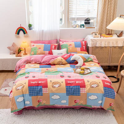 2020新款-13372全棉棉加绒四件套 1.2m床单款三件套 快乐童年