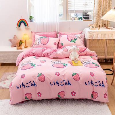 2020新款-13372全棉棉加绒四件套 1.2m床单款三件套 日文草莓