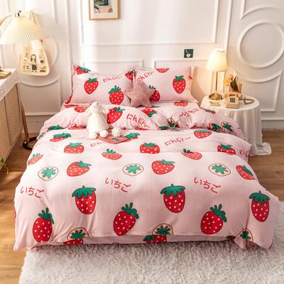2020新款印花牛奶绒四件套 1.2m床单款三件套 粉草莓