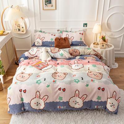 2020新款印花牛奶绒四件套 1.2m床单款三件套 粉兔