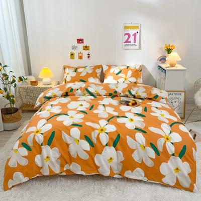 2021新款-全棉四件套 1.2m床单款三件套 百合桔