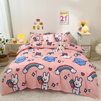 2021新款-全棉四件套 1.2m床单款三件套 彩虹萝卜兔