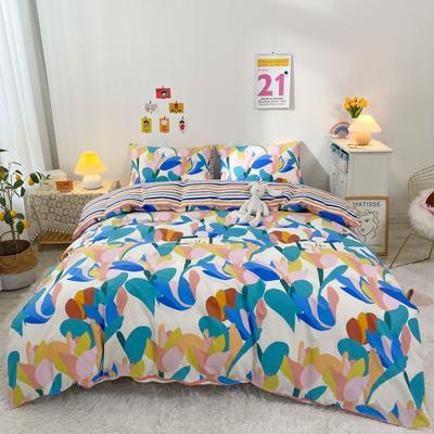2021新款-全棉四件套 1.5m床单款四件套 兰花草