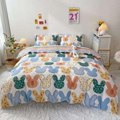 2021新款-全棉四件套 1.2m床单款三件套 兔耳朵